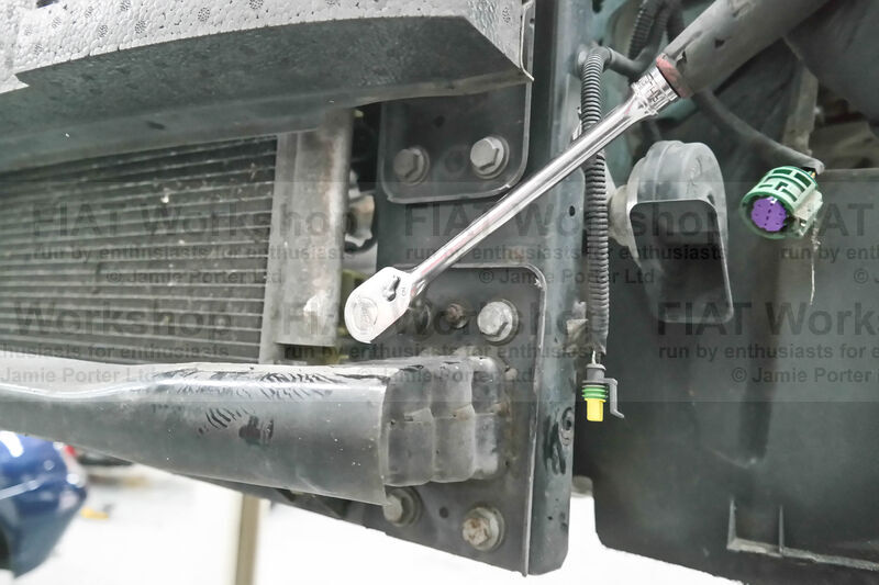 <p>Undo the x4 15mm bolts to the LEFT side lower crash rail (these bolts also hold the brace bar behind).