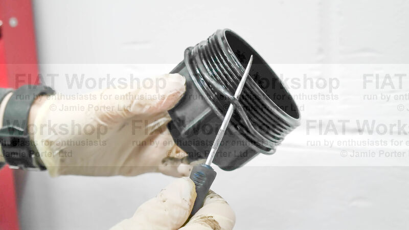 <p>Replace the O ring on the oil filter housing cover...